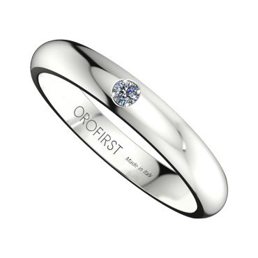 Fede Nuziale Bianca 3mm Con Diamante