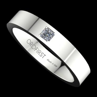 Fede Nuziale Bianca Square Con Diamante