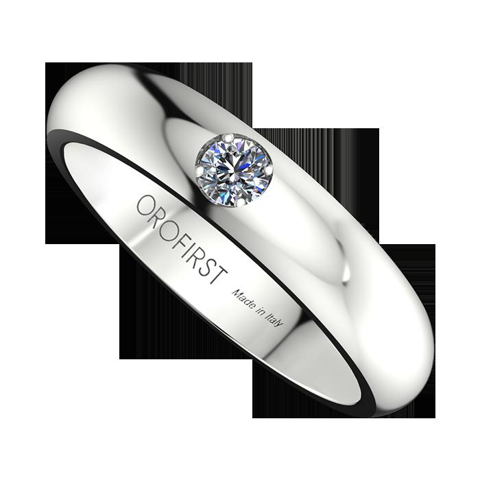 Famoso Fede Nuziale Bianca 4mm Con Diamante   Orofirst KY54