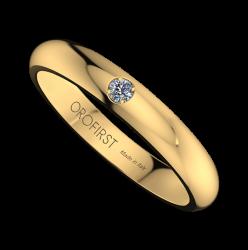 Fede Nuziale Gialla 3mm Con Diamante