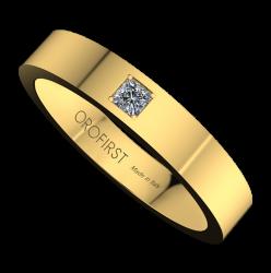 Fede Nuziale Gialla Square Con Diamante