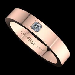 Fede Nuziale Rosa Square Con Diamante