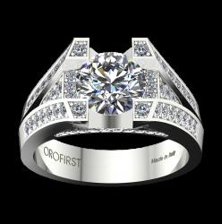 Anello Solitario Majestic Ring Bianco