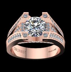 Anello Solitario Majestic Ring Rosa